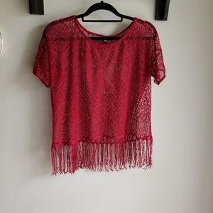 👚RED LACE TOP WITH FRINGE DETAIL
